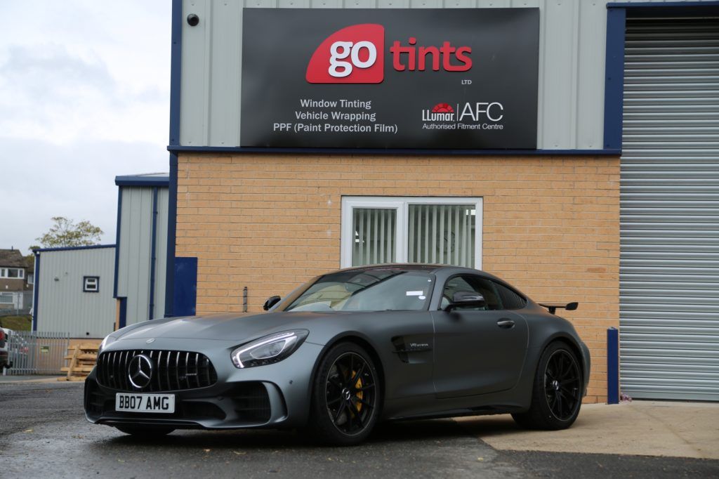 Mercedes AMG GTR fully wrapped in LLUMAR Self-Healing Clear Matte Paint Protection Film